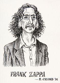 _Robert Crumb - Portrait of Frank Zappa for The New Yorker - 1992 (Not a caricature. Simply Crumb's portrait of Zappa in his own unique style. Robert Crumb, Norman Rockwell, Harvey Pekar, Bd Art, Comic Manga, Bd Comics, Frank Zappa, Art Graphique, Comic Artist