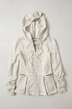 Bought this for Fall. The photo doesn't do it justice. It's really cute on. Laced Peplum Hoodie #anthropologie