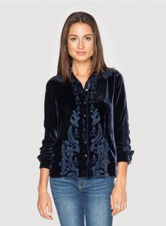 Johnny Was Clothing JWLA Embroidered Holland Velvet Western Shirt in Marine Blue Johnny Was Clothing, Boho Gypsy, Gypsy Soul, Marine Blue, Western Shirts, Casual Outfits, Casual Clothes, Bomber Jacket, Skinny Jeans
