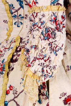 One Item - Kerry Taylor Auctions Ivory Silk, Pink Silk, Historical Costume, France, Silk Ribbon, Shades Of Blue, Passion For Fashion, Printed Cotton, Floral Tops