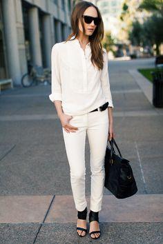 White Shirtdress, White Denims, Cuff Heel, Black Bag, Black Sunglasses