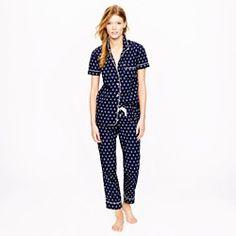 Vintage short-sleeve pajama set in anchor print