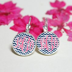 Soft Pink Monogram earringsNavy chevron Silver by Artworkfly