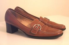 Coach Brown Leather Pumps Size 8 ½ B Square Toe Made in Italy P 312 Ingrid E 03 #Coach #PumpsClassics #Formal