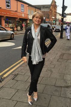 A date night outfit for an evening in Birmingham's Balti triangle. Metallics and leather with coated jeans.