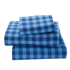 indie plaid flannel kids sheets blue the land of nod