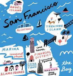 42 ideas for travel map illustration san francisco San Francisco Map, Alamo Square, Map Pictures, Country Maps, Travel Drawing, Framed Maps, Map Design, Treasure Island, City Maps