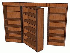 Hidden-Pivot Bookcase Door Here are detailed drawings for a nifty swinging-bookcase hidden door. Hidden Spaces, Hidden Rooms, Bookcase Door, Bookshelves, Bookcase Plans, Bookshelf Closet, Secret Rooms, Hidden Storage, Secret Storage