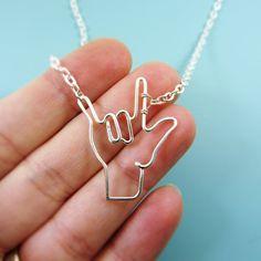 ASL I Love You Sign Symbol Necklace, Deaf Sign, Interpretor, Sign Language, Wire Wrap Love Symbol Jewelry Gifts Under 20 I Love Jewelry, Jewelry Gifts, Jewelry Design, Silver Jewelry, Etsy Jewelry, Custom Jewelry, Jewelery, Wire Jewelry, Sign Language Tattoo