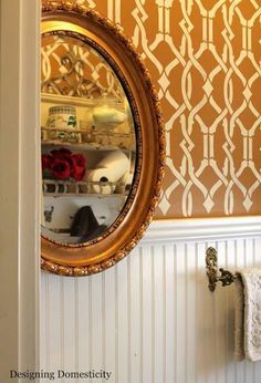What color is your bathroom?  ideas to perk up a powder room: http://blog.cuttingedgestencils.com/perk-up-a-powder-room-using-geometric-stencils.html  #bathroom #powderroom #stenciling #cuttingedgestencils