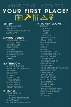 What Do You Actually Need For Your First Apartment? Moving  ChecklistChecklist For New ...