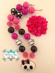 Pink Skull Chunky Bead Necklace Set on Etsy, $15.00