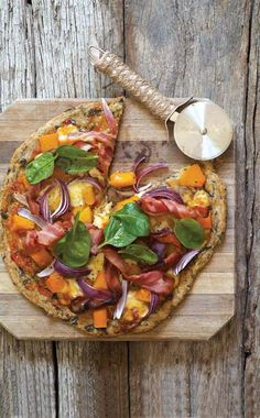 Wholewheat spinach and bacon pizza