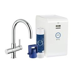 GROHE Blue Chilled & Sparkling 2-Handle Standard Kitchen Faucet in StarLight Chrome-31251001 - The Home Depot