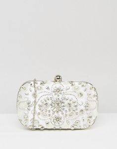 Embellished Box Clutch in White