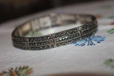 Vintage Sterling & Marcasite Bracelet signed by ThePickerGirl, $29.00