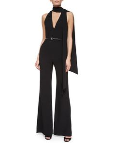 Sleeveless+Belted+Flare-Leg+Jumpsuit+w/+Tie+Detail,+Black+by+Halston+Heritage+at+Neiman+Marcus.