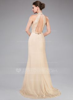 Trumpet/Mermaid High Neck Sweep Train Chiffon Lace Evening Dress With Ruffle Beading Sequins Split Front (017050424) - JJsHouse