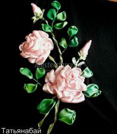 Embroidery Satin Flower Satin Ribbon Embroidery step by step Ribbon Embroidery Tutorial, Rose Embroidery, Silk Ribbon Embroidery, Embroidery Stitches, Embroidery Patterns, Satin Flowers, Pink Roses, Ribbon Flower, Shabby Chic Ribbon