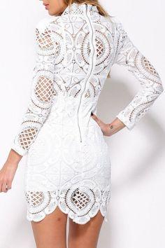 White Crochet Lace High Neck Mini Dress - OASAP.com