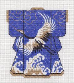 LEE **Exclusive** Kimono Crane on Royal Blue handpainted Needlepoint Canvas 5x6
