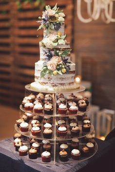 2019 Top 15 Must See Rustic Wedding Ideas---semi naked wedding cake with floral decors and cupcakes for a indoor barn wedding reception, fall wedding ideas Rustic Garden Wedding, Wedding Cake Rustic, Rustic Weddings, Vintage Weddings, Rustic Cake, Garden Wedding Themes, Garden Wedding Cakes, Tree Decorations Wedding, Rustic Cupcake Stands