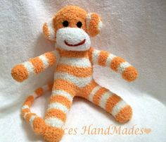 sock monkey plush toy Handmade Stuffed Animal Doll Baby large  orange white. $25.00, via Etsy.
