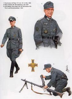 1: Capitan, 119º Regimiento de Infanteria List, 57º Division de Infanteria, 1943 2: Mayor, División Brandenburg, fines de 1944 3: Suboficial, 134º Regimiento de Granaderos, 44º Division Reichs-Grenadier Hoch und Deutschmeister, 1944