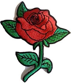 ÉCUSSON PATCH BRODÉ Applique thermocollante ** 9 x 4 cm ** Mot Love Fleur Rouge