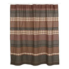"""The Beckham Shower Curtain measures 72"""" x 72"""" and features button holes for your shower hooks above a 3"""" rod pocket. Horizontal strips in rust, gold and black assorted fabrics. Patchwork and machine stitched."""