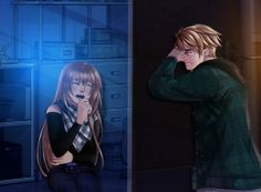 Please let me in…Did you ever seen Nath crying ? (btw, candy had the time to switch there outfit) (and sorry for background's qualities) Story Characters, Manga Characters, Diabolik Lovers, Mystic Messenger, Art Amour, My Candy Love, High School Life, Cute Love Cartoons, Harry Potter Anime