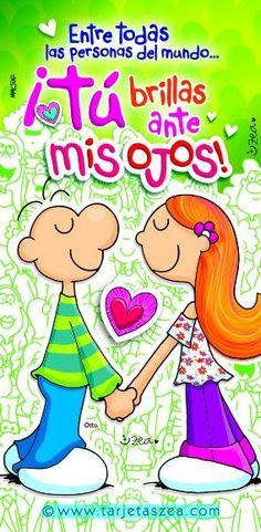 Otto tomado de la mano con su pareja © ZEA www.tarjetaszea.com Good Night Blessings, L Love You, Happy Heart, Love Cards, Love Pictures, Love Messages, Smurfs, Positive Quotes, Diy And Crafts