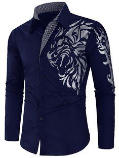 Checked Panel Tiger Print Button Up Shirt - Cadetblue - - Men's Clothing Men's Tops & T-Shirts Men's Shirts # # African Clothing For Men, African Shirts, Mens Clothing Styles, Men's Clothing, Upcycled Clothing, Mens Red Dress Shirt, French Cuff Dress Shirts, Man Shirt Style, Men's Dress Shirts