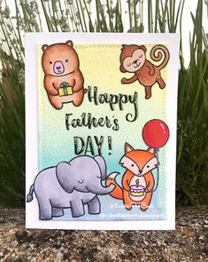 InvisiblePinkCards: Handmade Father's day card using Lawn Fawn stamps, Copics and Distress Inks