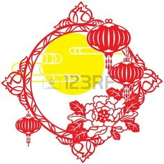 Chinese Mid Autumn festival and New year design element by Patrickma, via Shutterstock Chinese New Year Holiday, Lantern Tattoo, Chinese Cartoon, New Year Designs, Clouds Pattern, Chinese Lanterns, Mid Autumn Festival, Japanese Patterns, Paper Cutting