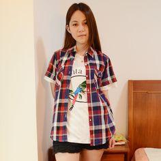 2012 summer women's multi-colored large checkered shirt short-sleeve plaid shirt female on AliExpress.com. $26.01