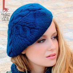 Blue beret 100% delicious by Vinntagefac on Etsy