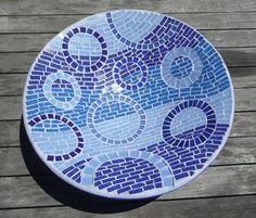 Warm Blues Mosaic Bowl of Rain Fruit Bowl by EsthersMosaics