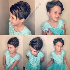Cute Short Haircuts For Girls Little Girls Pixie Cut, Little Girls Pixie Haircuts, Short Pixie Haircuts, Little Girl Hairstyles, Pixie Hairstyles, Pixie Cut Kids, Latest Hairstyles, Kids Girl Haircuts, Olive Hair
