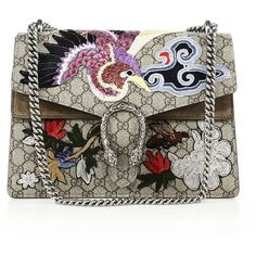 Gucci Dionysus Embroidered GG Canvas Shoulder Bag (16.175 RON) ❤ liked on Polyvore featuring bags, handbags, shoulder bags, gucci, apparel & accessories, canvas shoulder bag, chain shoulder bag, kiss-lock handbags and canvas purse