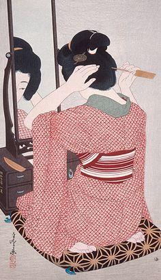 Woman in kimono before a mirror.  Uliyo-e woodblock print, 1932, Japan.  Artist Hirano Hakuho