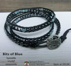 Bits of Blue Handmade Leather Wrap Japanese Powerstone Bracelet by OffOnAWhimJewelry, $22.00