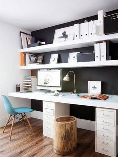 Simple desk and shelving solution