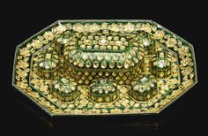 An exceptional diamond-set and enamelled gold tray and casket (pandan), North India, 18th century |