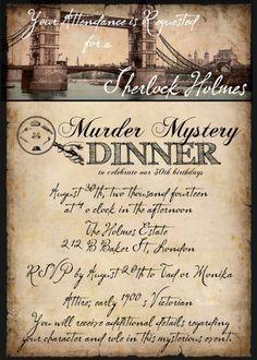 30th Birthday invitation, Sherlock, British decor, London Bridge, Halloween Party