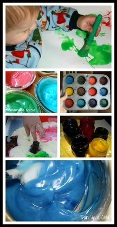 Homemade Paint Recipes Safe for Babies and Toddlers - 10 recipes for homemade paint that are safe for little ones who still taste everything. Most of these recipes are made from common household items. I love knowing what is in the paint my kids use! Preschool Art, Craft Activities For Kids, Infant Activities, Projects For Kids, Diy For Kids, Activity Ideas, Learning Activities, Art Projects, Craft Ideas
