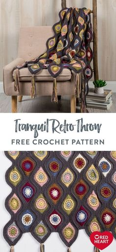 Tranquil Retro Throw free crochet pattern in Red Heart Soft yarn. We've re-imagined the wonderful crochet Retro Ornament Throw design, replacing the bright motif colors with warm and subtle tones of Red Heart Soft. There's lots to keep you engaged on this crochet throw project featuring a rich ornament design and decorative tassels. It's a captivating blanket that's the center of attention in any room it's displayed.