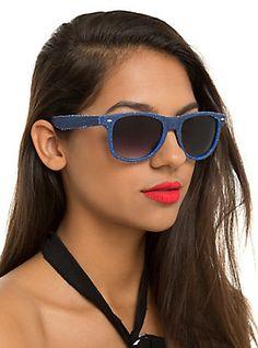 Blue Denim Retro Sunglasses,