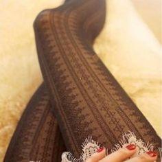 $6.05 Sweet Retro Style Openwork Stripes Skinny Lace Stockings
