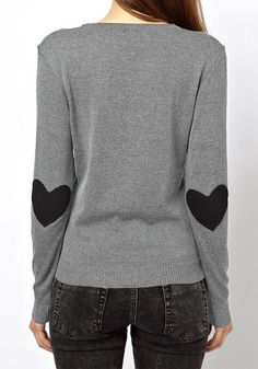 Elbow Patch Knitted Top #top #sweater #hearts